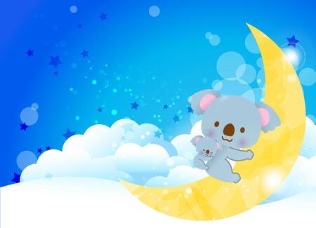 Parent and child of a cute good friend koala sleeping on the crescent moon on the clouds of a beautiful night sky Illustration