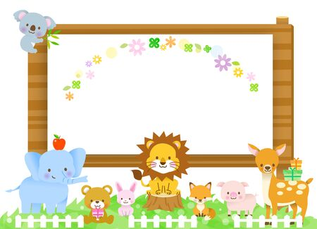 Cute animals koala, elephant, bear, lion, fox, pig, rabbit, deer deer with guidance of the sign board of the tree and the present