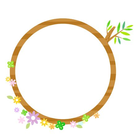 Round wooden frame and cute watercolor grass