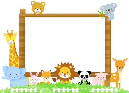 Cute animals gathered in the guide of the sign board of the tree / giraffe, koala, elephant, bear, lion, fox, pig, rabbit, panda, deer deer