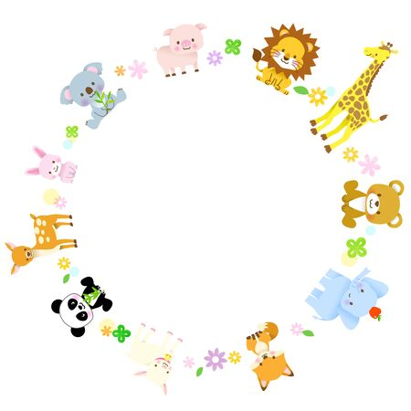 A group of cute animals in a circle / Panda, giraffe, koala, elephant, bear, lion, fox, pig, rabbit, deer, goat