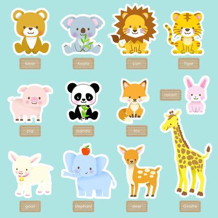 Cute animal swarm name / Tiger, Panda, Giraffe, Koala, Elephant, Bear, Lion, Fox, Pig, Rabbit, Deer, Goat