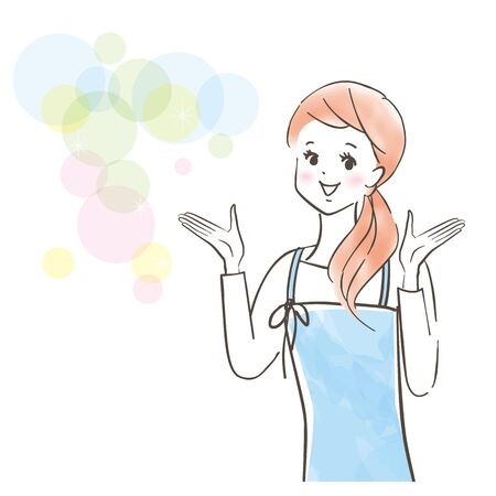 A cute woman with a smile wearing an apron explains / image of saving / pastel painting / hand-drawn illustration Stock Illustratie