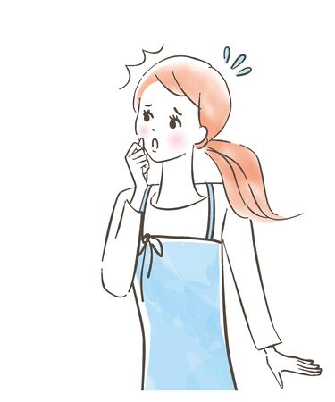 Cute woman wearing a troubled apron / fight / pastel painting / hand-drawn illustration