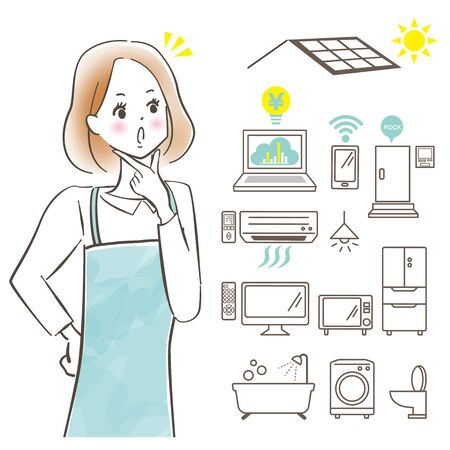 Cute woman with a smile on an apron / ZEH and saving image / Pastel painting / Hand-drawn 向量圖像