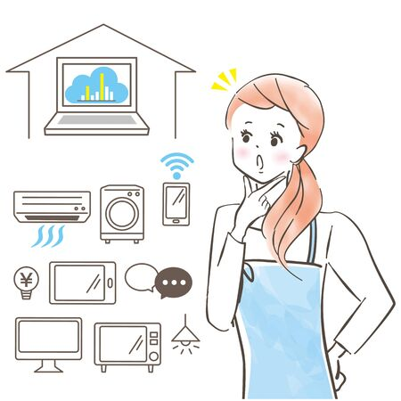 A young woman in a home appliance icon and apron