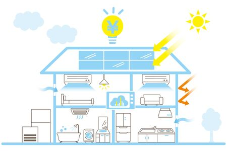 Eco-Housing Image/IOT/ZEH Housing/Home Appliance Icon Illustration