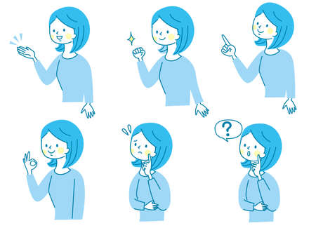 Young woman's facial expression set