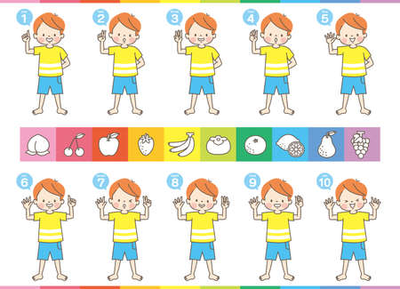 A set of facial expressions for boys counting from 1 to 10 in English (with fruit card)