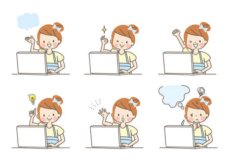 The expression set of the girl who studies by the personal computer