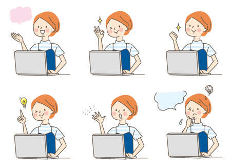 Computer and young woman's facial expression set