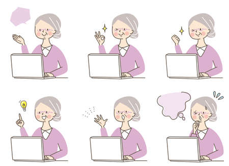 Computer and senior women's facial expression set