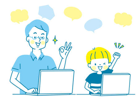 Smiling parent and child learning on a computer (boy) Stock Illustratie