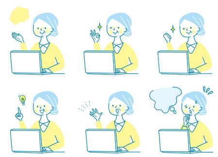 Computer and senior women's facial expression set Vector Illustratie