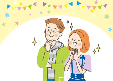 A young couple with a surprised smile Vector Illustratie