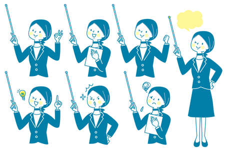 a set of women in suits who explain with a support stick