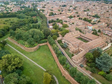 Ferrara city walls and bastions aerial view Emilia Romagna Italy