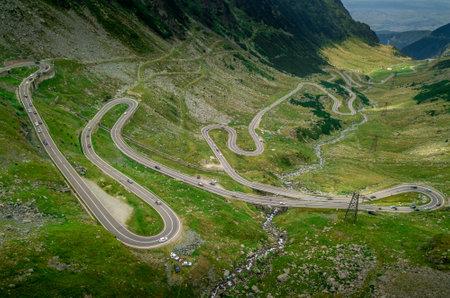 Curving road near Lake Balea on the Transfagaras pass in the Carpathian mountains Romania