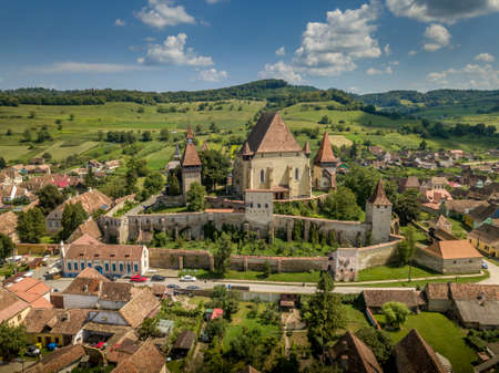 Aerial view of    site Biertan fortified saxon church and village in Romania 스톡 콘텐츠