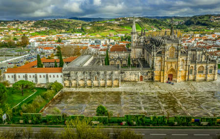 Aerial view of the monastery complex in Batalha one of the seven wonders of Portugal