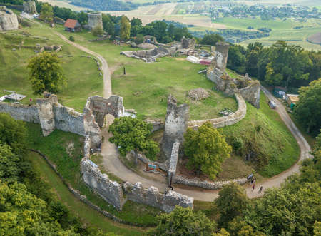 Aerial view of the donjon of medieval Saris castle in Slovakia on a summer afternoon