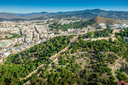 Malaga aerial view of the Alcazaba, cathedral and port Standard-Bild