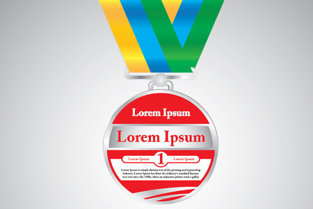 easily: Medal with Lorem Ipsum text that can be easily modified. Vector illustration.