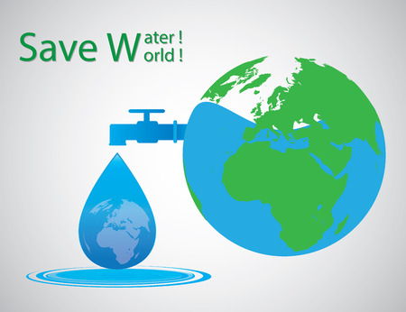 recycling campaign: save water, save world. Vector Illustrator. Illustration