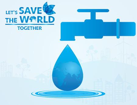 agua a salvar el mundo. Vectorial Illustrator.