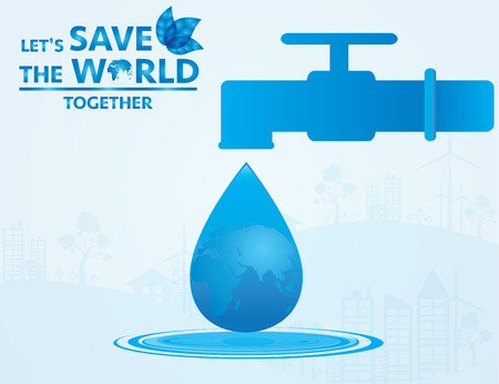 recycling campaign: water save the world. Vector Illustrator.