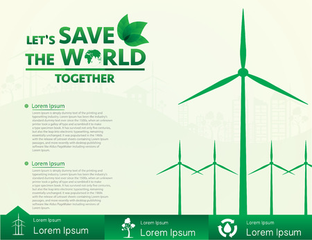Wind turbine, alternative energy, save the world. Vector illustration EPS10.
