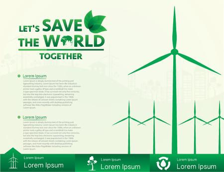 Windturbine, alternatieve energie, de wereld te redden. Vector illustratie EPS10.