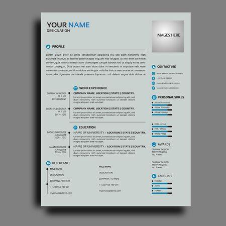 Corporativo con diseño de plantilla de currículum vitae creativo para empleados Ilustración de vector