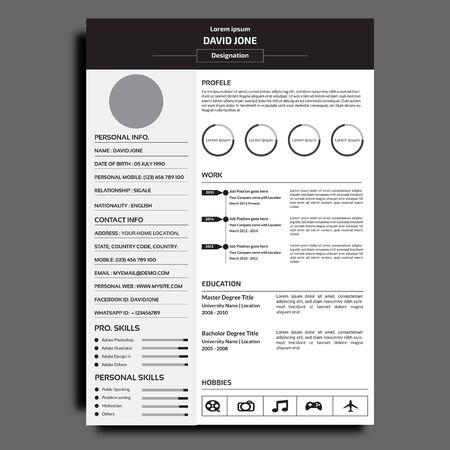 Professional resume or cv template. Vetores