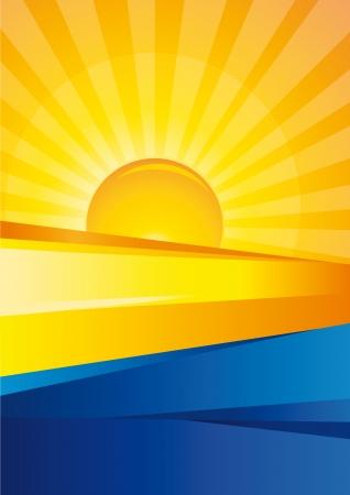 san rays: Sunrise and Blue Sea Design