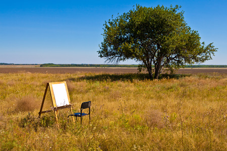 wooden easel stands in a field with a white sheet of paper