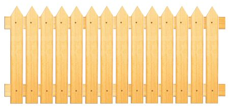 sharpened: Fence of sharpened planks on a white background