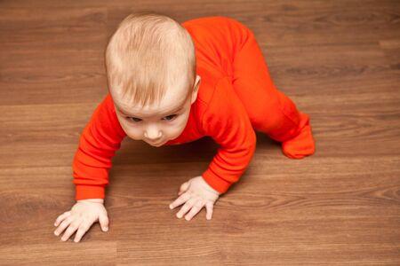 bebe gateando: beb� gateando en el piso de madera Foto de archivo