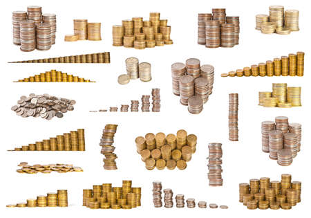 contributions: set coins on white background Stock Photo