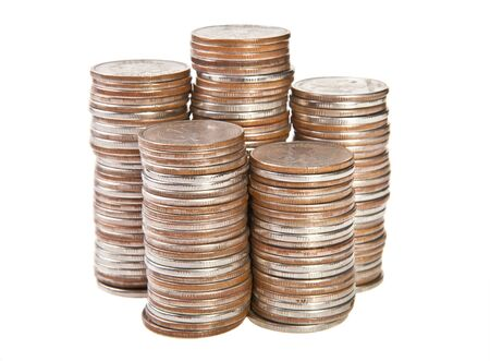 contributions: stacks of coins on white background