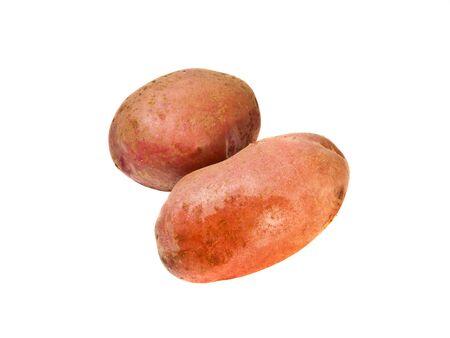 raw potato: two raw potato tubers on a white background Stock Photo