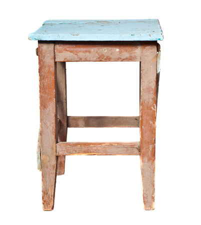 stool: old wooden stool on a white background
