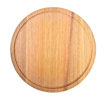 Tabla de cortar de madera redonda sobre fondo blanco Foto de archivo - 36076949