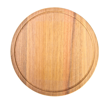 round wooden cutting board on white background