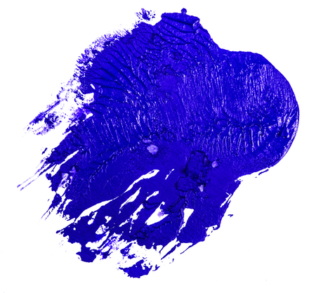 stain of blue oil paint on a white