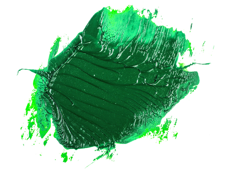 smear of green oil paint on a white