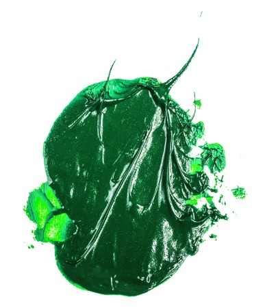 smear of green oil paint on a white Imagens - 122282311