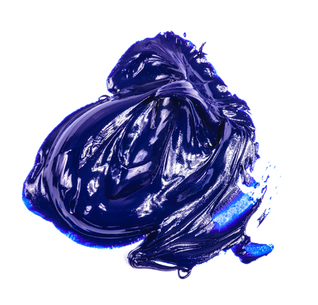 smear of blue oil paint on a white
