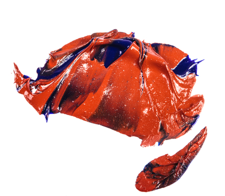 stain of blue and red oil paint. smear on white