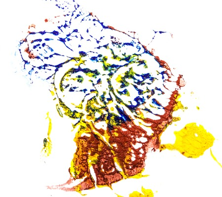stain of blue, yellow and red oil paint. smear on white